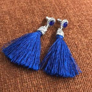Jewelry - Royal Blue Tassle Earrings